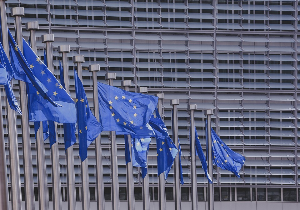 European flags in front of the European commission