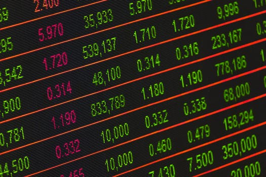 Image d'un tableau avec des cours de marché à terme