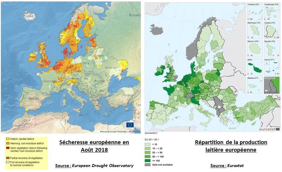 Cartes comparatives des régions affectées par la sécheresse et de la répartition de la production laitière en Europe
