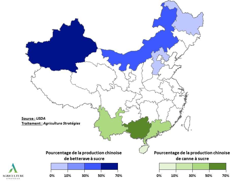 Carte des productions sucrières chinoises