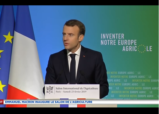 Emmanuel Macron donnant son discours lors du Salon International de l'Agriculture
